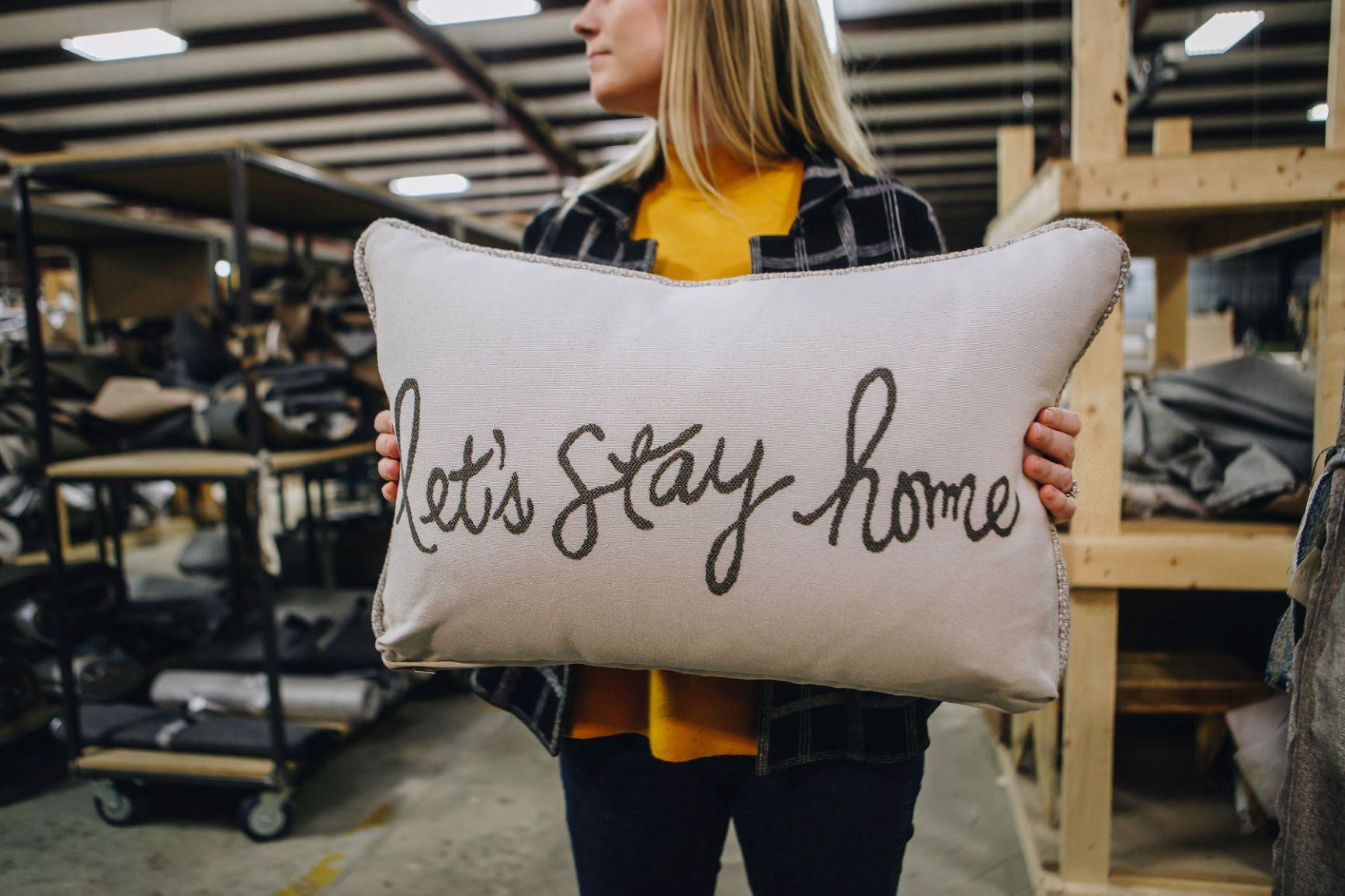 Let's stay home pillow from Fusion Furniture