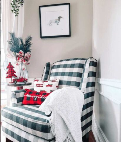 Checkered Fusion Furniture chair decorated for Christmas