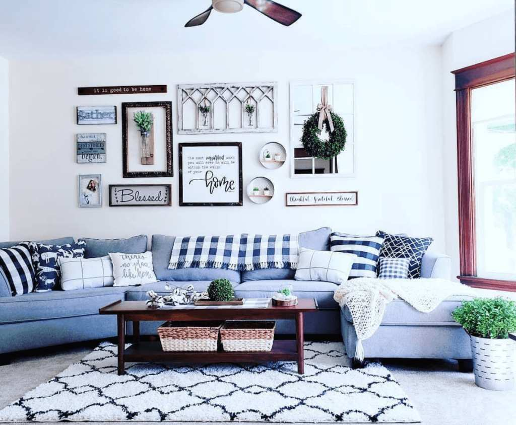 Blue Fusion Furniture sectional couch in customer living room