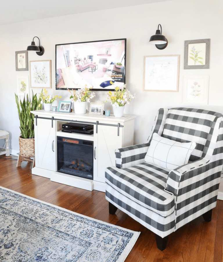Checkered Fusion Furniture chair near tv in customer living room