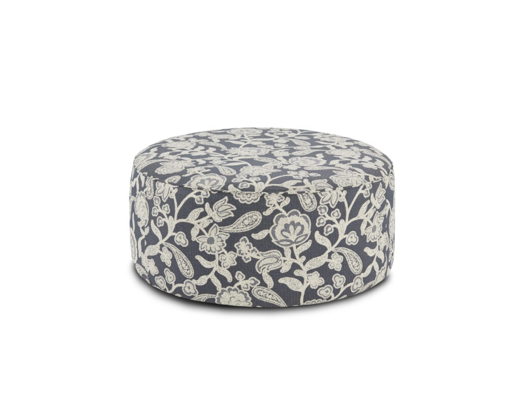 Sophie Indigo Fusion Furniture ottoman, Awesome Oatmeal collection
