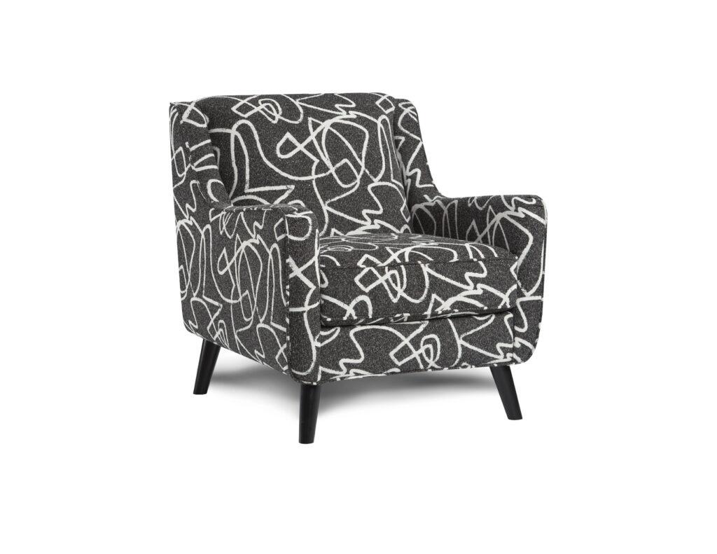 Scribble Tuxedo Fusion Furniture chair, Monroe Ash collection