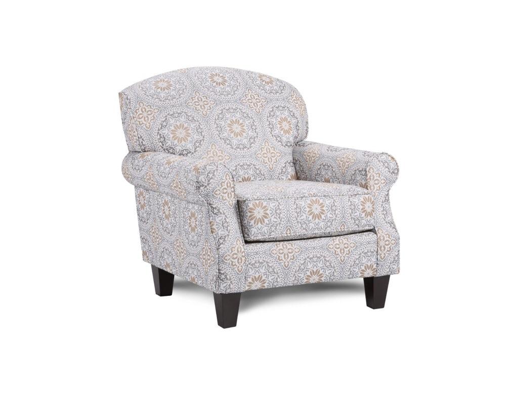 Evanwood Smokey Blue Fusion Furniture chair, Bates Nickel collection